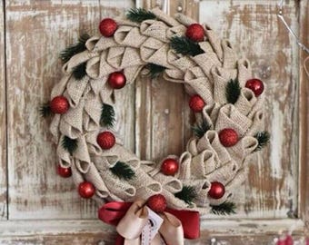 Christmas Wreath, Christmas Front Door Wreath, Rustic Burlap Wreath, Hessian Wreath