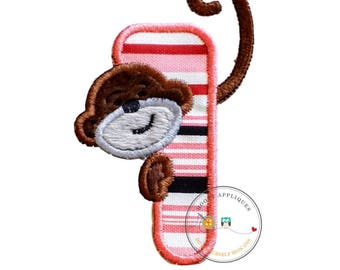 Peeking monkey birthday number 1, iron on number one patch for kids birthday, embroidered fabric applique for clothing, Minky monkey