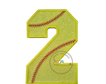 ON SALE NOW Neon yellow glitter softball iron on applique number 2, bright glitter embroidered iron on patch, number 2 yellow softball numbe