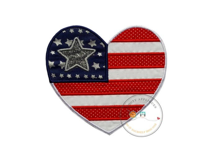 Patriotic, iron-on, American flag, heart layered in red/white dots and white--blue fabric with star print and silver glitter vinyl star
