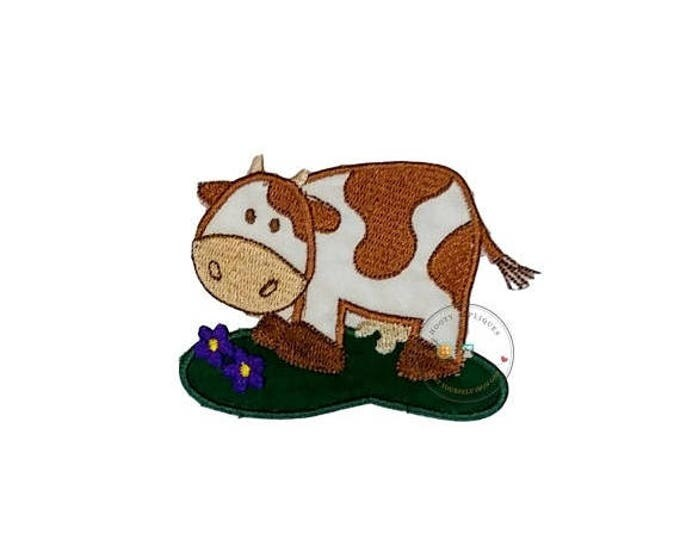 ON SALE NOW Brown cow iron on applique-Farm animal no sew patch-Barnyard patch for clothing-ready to ship