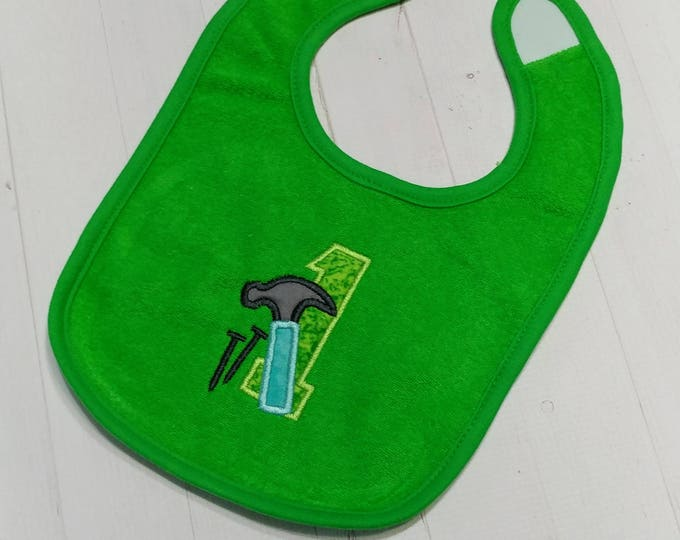 Number one with hammer and nails green embroidered Koala Baby cloth baby bibs for 6-12 month old boys
