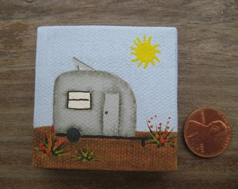 2 x 2 MINIATURE Canvas Travel Trailer