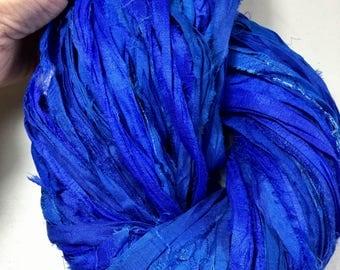 NEW Recycled Sari Silk Ribbon Royal Blue Jewel Tone Jewelry Fair Trade Felt Knit Crochet Scrapbook Weave  Fiber Art Supply