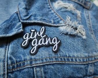 Girl Gang // DIY Feminist Patch Applique iron on embroidered girl power black and white denim badge easy application girls feminism