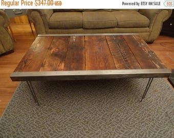 Limited Time Sale 10% OFF Industrial Coffee Table with raw steel trim and hairpin legs
