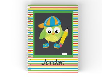 Owl Personalized Notebook - School Owl Multi Color Horizontal Stripes with Name, Customized Spiral Notebook Back to School