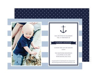 Nautical Photo Invitation (Light Blue Anchor Party, Nautical Birthday, Nautical Invitation, Boys Nautical Party, 1st Birthday Invitation)