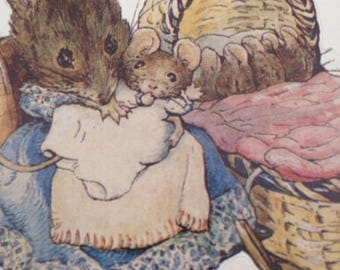 Mother Mouse Baby Stickers Beatrix Potter Peter Rabbit Story Book Victorian