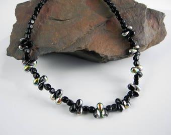 Black Onyx Necklace, Czech Beads Necklace, Black Beaded Necklace, Teardrop Beaded Necklace, 18 inch necklace, Mystical Moon Designs