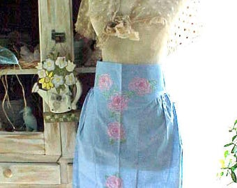 Charming Vintage Sky Blue Apron with Silk Embroidered Pink Roses