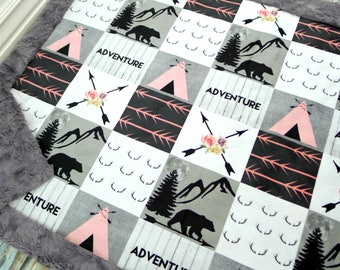 Bear Baby Blanket - Faux Patchwork Quilt - Adventure Blanket - Baby Blanket - Baby Gift - Baby Blanket Girl - Boho Baby - Baby Blankets