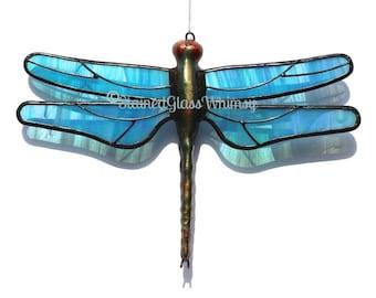 Stained Glass DRAGONFLY Suncatcher - Wispy Iridescent Turquoise Wings, USA Handmade Original Turquoise Dragonfly, Turquoise Sky Blue Firefly