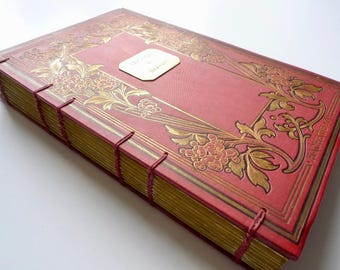 Floral Wedding Guestbook, Unique Fairytale Wedding Journal, Anniversary Gift, Vintage Art Nouveau Red Blank Book, Rebound Antique Guestbook