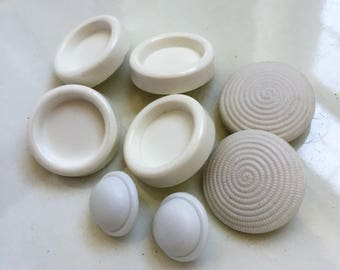 eco friendly vintage white shank buttons--3 styles--8 buttons