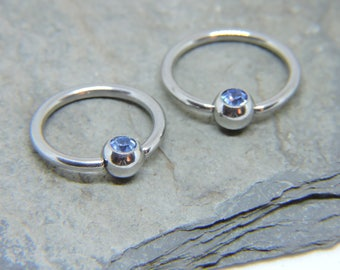 """Nipple Rings SET of 2 - Inlaid Sapphire Blue Crystal Captive Ring - CBR 16 or 14 Gauge 3/8"""" 7/16"""" 1/2"""" 5/8"""" Nipple Bars - For Any Piercing"""