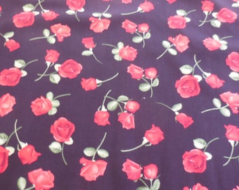 1 Yard of Glamour - Black w/ Red Roses by Timeless Treasures