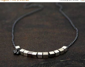 20% off. Mixed Metal Necklace. Unique Cube and Bobble Necklace. Simple Layering Necklace. Black and Silver or Black and Gold.  N2383