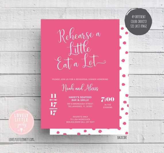 Rehearsal Dinner Invitation, Fun Rehearsal, Rehearse A little Eat a Lot Invitation, Wedding Rehearsal Dinner- Lovely Little Party
