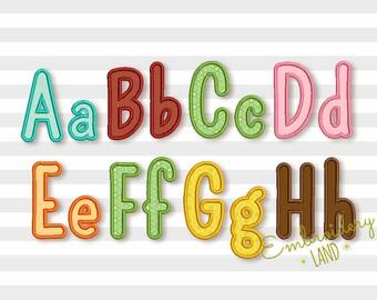 Narrow Applique Alphabet Font Machine Embroidery Design 6 sizes AL040