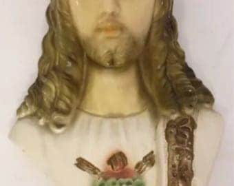 Chalkware Jesus Religious Vintage God Wall Hanging