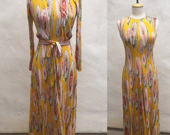 Vintage gorgeous long dress jacket Diane Von Furstenberg yellow mod flowers print jersey Italy sz M