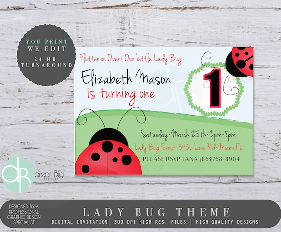 Lady bug invitation bug party garden birthday invites ladybug il570xn filmwisefo