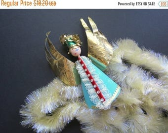 ON SALE Austria Tree Topper // Vintage Cardboard and Foil Christmas Angel Holiday Tree Topper Made in Austria Mid Century Modern Retro Blue