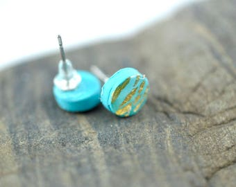 Tiny Turquoise Dot with Gold Leaf High Gloss Stud Earrings