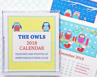 2018 Owl calendar - desk calendar - Owls desk calendar - 2018 calendar - 2018 Owl desk calendar - Owl design - mini calendar