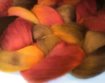 100% Falkland Island Fine Wool Top / Roving 4 oz Color GROGB Free Shipping