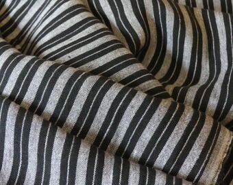 """Black and white striped woven linen fabric - 56"""" wide - BTY"""