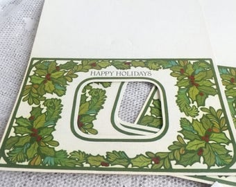 Easter Sale Vintage Hallmark Unfolded Christmas Cards / Photo Holly Berry Greeting Cards / Cards and Envelopes
