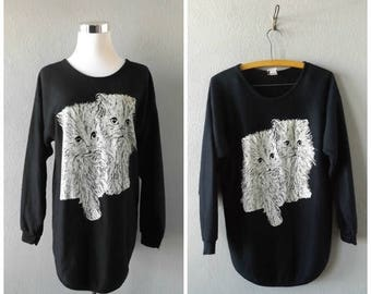 memorial Glitter Cat 80s Sweatshirt Vintage Black White Kitty Cat Pullover Tunic Blouse Size S//Small Hipster Boho Jumper Dress Tops 1980s A