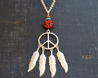 Silver Feather Peace Necklace Dream Catcher Necklace Peace Sign Jewelry DreamCatcher Jewelry Silver Feather Necklace Dreamcatcher Peace Love