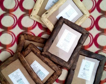 """Rustic/driftwood style frames in locally sourced,recycled pine in medium dark or very dark wax finish.To fit 7""""x5"""""""