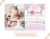 Donut Birthday Invitation, Donut Party, Pink Mint Purple Gold, Donut invite, Printable File