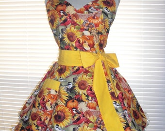 Autumn Apron - 1950s Retro Apron Autumn Themed Pumpkins and Autumn Birds Paired with Sunshine Yellow Circular Flirty Skirt Ruffled Ribbon