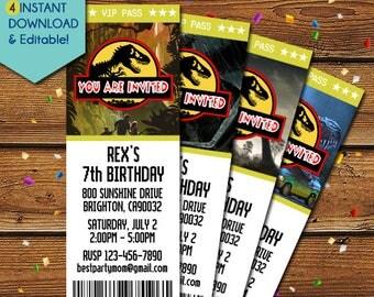 Jurassic Park Birthday Invitation, Jurassic Park Invitation, Jurassic Park Party Invitation, Jurassic Park Invite, Jurassic Invitation