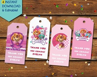 Paw Patrol Skye Thank You Tags,  Pink Paw Patrol Party Favors, Paw Patrol Skye Tags, Paw Patrol Skye Birthday Tags, Party Tags, Gift Tags