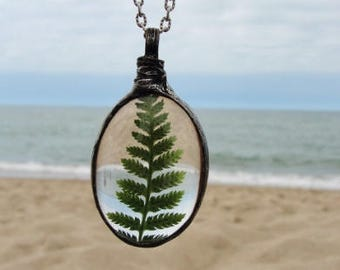 FERN Forest necklace, Talisman, gift for her, Real Fern Necklace, WOODLAND necklace, Boho, Terrarium Fern Jewelry Bridal