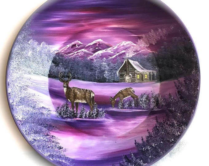 Hand Painted 11 Inch Gold Pans Mountain Mauve Winter Cabin Whitetail Deer