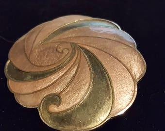Bronze  and Olive Enamel Cloisonne Focal Piece, Vintage 80s