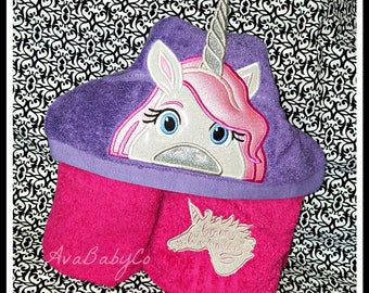Embroidered Unicorn with 3D Horn Hooded Towel Personalized