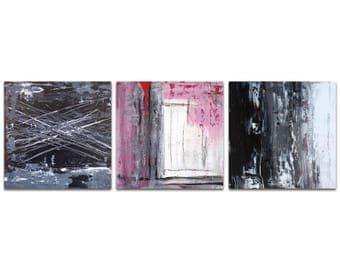 Abstract Wall Art 'Urban Triptych 6' by Celeste Reiter - Urban Decor Contemporary Color Layers Artwork on Metal or Plexiglass