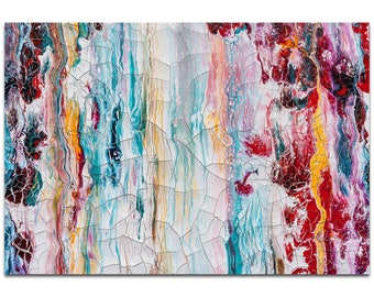 Abstract Wall Art 'Cracks 1' by Jamie Anton - Urban Decor Contemporary Color Layers Artwork on Metal or Plexiglass