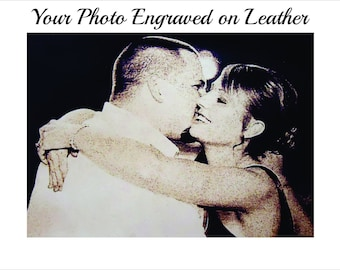 Leather Photo Engraved -  Leather Photo Engraved with Any Photo You Wish 4x6 or 5x7