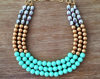 Statement Necklace Bridesmaid Jewelry FLIRT WITH ME Necklace  Wedding Jewelry Statement Jewlery Mint Necklace Bib Necklace
