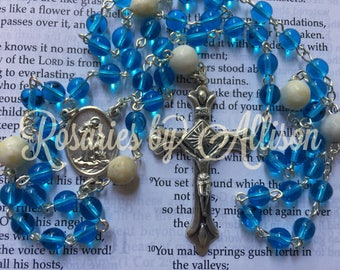 Aquamarine Czech glass and Moss Marble gemstone bead rosary with silver plated reversible St. Anthony/Francis center and crucifix