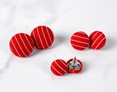 Red Button Earrings - Red Pinstripe Covered Button Earrings - Red White Stripe Stud Earrings